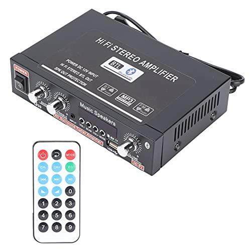 Akozon Amplificador de potencia estéreo inalámbrico Bluetooth Mini amplificador de audio Digital inteligente con mando a distancia Enchufe de la UE 220 V