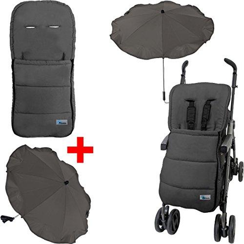 Kinderwagen/Buggy Sommer-SET (Sommerfußsack + Sonnenschirm) Wasser- und Windabweisend (DUNKELGRAU)