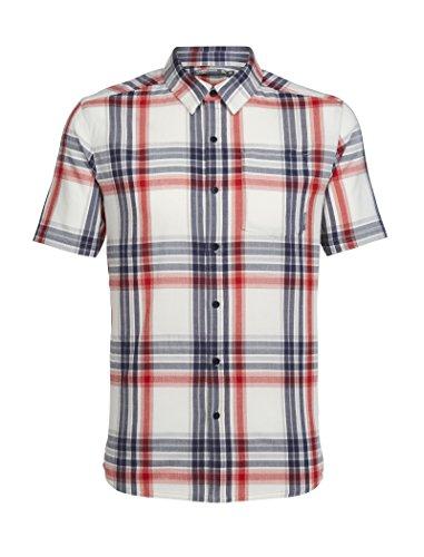 Icebreaker Herren Compass SS Shirt Hemd, Fathom Hthr/Rocket/Plaid, S