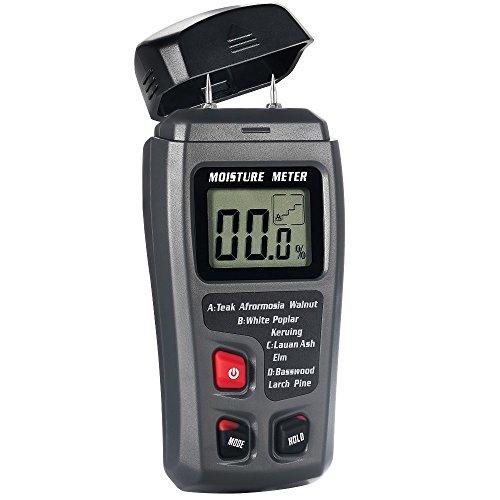 Digital Moisture Meter, ± 0.5% Accuracy Wood Moisture Meter with 2 Pins / 4 Types of Wood Species /...