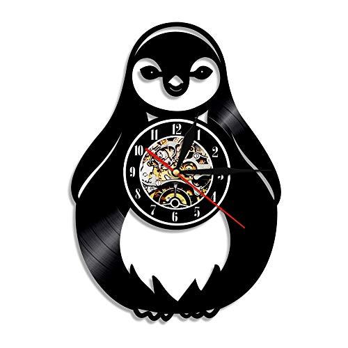Pingüino silueta vinilo registro reloj de pared encantador polo norte animal hecho a mano pared arte decoración para niños habitación sin LED