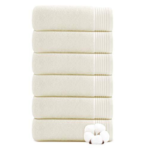 Juego de 6 toallas de mano para baño 100% algodón puro, juego de toallas absorbentes, ultra suaves, gruesas y lujosas, color blanco crema (40 x 70 cm)