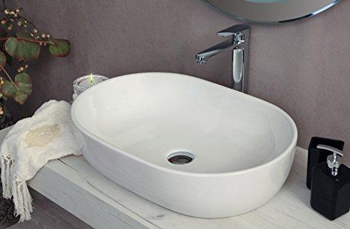Yellowshop - Lavabo Da Appoggio Cm 60 x 42 Bacinella Lavandino Lavello In Ceramica Bianco Sanitari Bagno Design Moderno Modello Opera