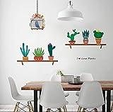 reloj de pared BUDSD Cactus Aloe Vera Macetas Pegatinas de Pared Para Oficina Sala de estar Decoración Pastoral Mural Arte Diy Home Decals Carteles