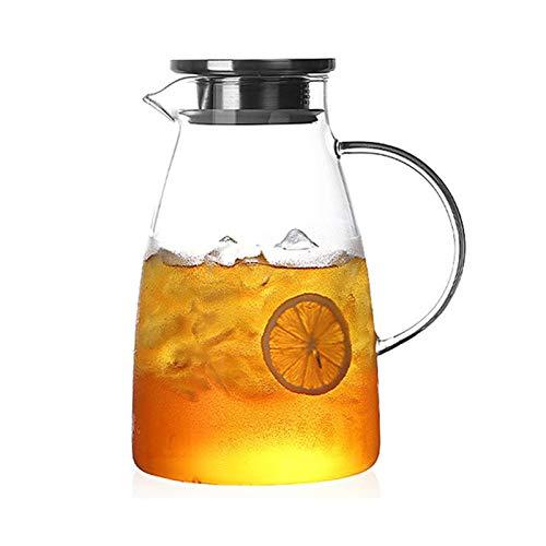 QAX Jarra de cristal con filtro y boquilla, fácil de limpiar, resistente al calor, para té helado, bebida y jugo, 2000 ml