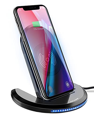 Cargador inalámbrico por inducción Qi Charger, cargador rápido inalámbrico plegable para Samsung Galaxy S20+, S8, S7Edge, 10/9/8, iPhone 12/SE,11 Pro/8 Plus y todos los dispositivos compatibles con Qi