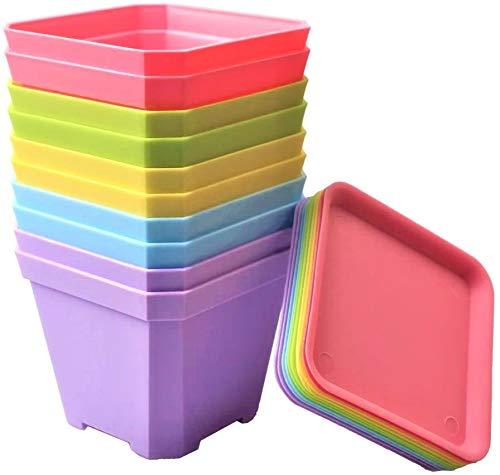 KAHEIGN 24 Pz Vasi Per Piante Quadrate, 7cm Addensare Vasi Di Fiori Di Plastica Fioriera Succulenta Vasi Per Vivaio Con Pallet / Vassoi Per Piccole Piante In Vaso (6 Colori)