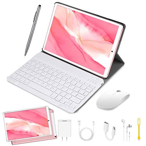 DUODUOGO Tablet 10 Pulgadas Buenas 4GB RAM 64GB ROM Android 9.0 Pie Tablet PC 2 en 1 con Teclado y Mouse Quad-Core Dual SIM Buenas Tabletas de función de Llamada 4G 8000mAh