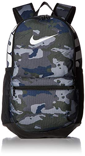 NIKE Brasilia Medium Backpack - All Over Print, Dark Grey/Black/White,...