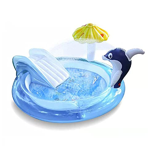 Piscina Hinchable Infantil con Tobogan 190x190x29 cm Grande Piscina Inflable de Agua PVC para bebés niños y Familia