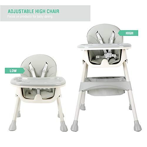 Trona para bebé, con cinturones de seguridad de 5 puntos, bandeja extraíble, trona ajustable en altura, Silla de comedor fácil de montar para niños y niñas (Azur)