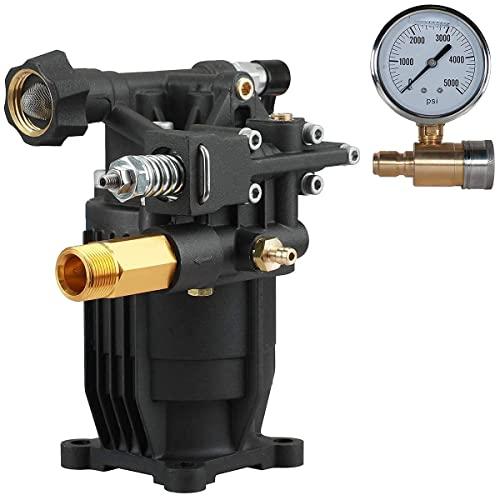 "YAMATIC NEW 3/4"" Shaft Horizontal Pump 2800 PSI With Pressure Washer Gauge"