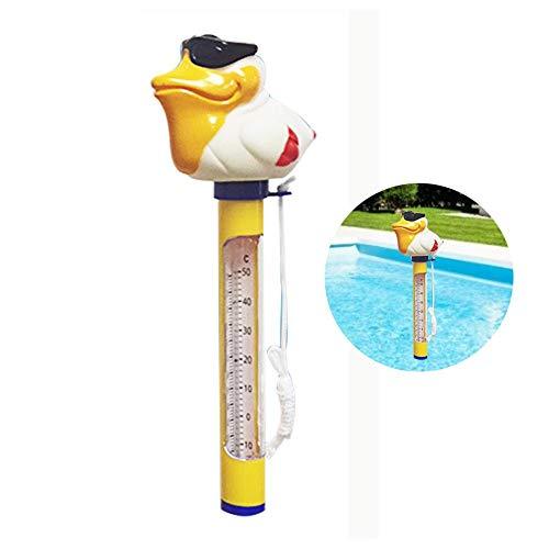 Cartoon Schwimmbecken-Thermometer,Schwimmbad-Thermometer mit Schnur Digitales schwimmendes Thermometer für Innenpool, Badewasser, Spas, Aquarien