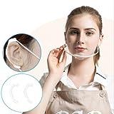 マウスシールド クリアマスク 耳ガード3セット付 飛沫防止 男女兼用 フリーサイズ 笑顔が見えるマスク 業務用 調理用 (10, ホワイトフレーム)