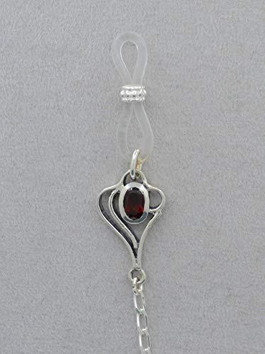 Brillenkette 925 Sterling-Silber mit Granat
