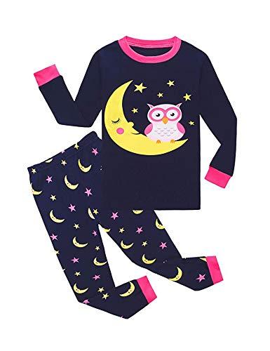 Bricnat Kinder Schlafanzug Mädchen 128 134 Lang Eule Baumwolle Zweiteilig Kinder Pyjama Set Langarm Nachtwäsche Dunkelblau Herbst Winter Weihnachten Ostern 130