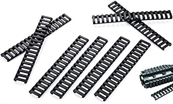 VANVIN Rubber Ladder Coverage MLoks&Keymods Enhanced Rail Panels and Index Clips Hand Protector Section 1913 Resistant 8Pcs(Black)