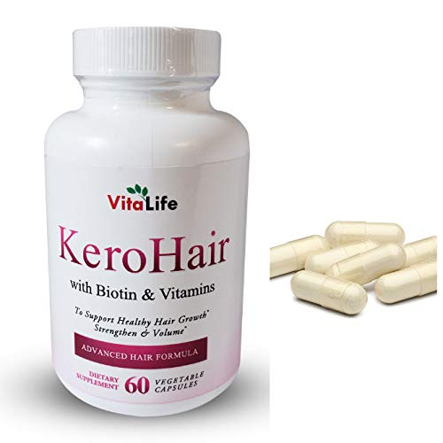 KeroHair Biotin Vitamin Capsules for Hair Growth - Skin and Nail Strengthener Growth Supplement for Women and Men / Kerotin Formula