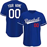 Custom Baseball Jerseys Personalized Baseball Shirts Hip Hop Clothing for Men Women (Blue White Red)