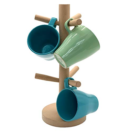 Wooden Mug Holder Tree Mug Rack Stand Organizer Coffee Cup Mug Stand Tree Dryer with 6 Hooks
