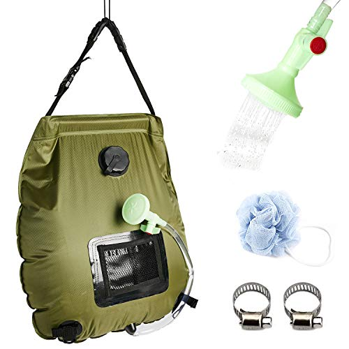 Portable Outdoor Solar Shower Bag5 Gallons/20L HeatingCamp Shower Bag with Removable Hose and On-Off Switchable Shower Head for Camping Traveling Hiking Beach Swimming Summer (ArmyGreen)