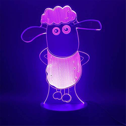 Shaun The Sheep - Lámpara de noche con holograma de ilusión 3D, con 16 cambios de color y control remoto, regalos para niños a partir de 3 4 5 6 años