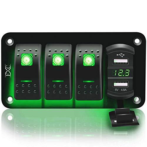 Panel de interruptores de Rocker Rocker de 12V-24V 4-Posición, Coche USB, Marine, RV, Camión, Verde L & Eduniversal Accesorios de Estilo, Instrumentos de Prueba eléctricos