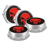 iNewcow License Plate Fasteners Auto Exterior Accessories - Punisher Red Skull License Frame Bolt Screws for Audi VW Honda Toyota KIA BMW Lexus Jeep Dodge Benz Volvo Chevrolet Nissan Ford(4PCS)