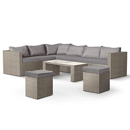VonHaus 8 Seater Garden Corner Rattan Set – Modern Glass-Topped Table, Corner Sofa & Stools – Large Family Furniture Set Great For Patio/Decking/Outdoor - Grey