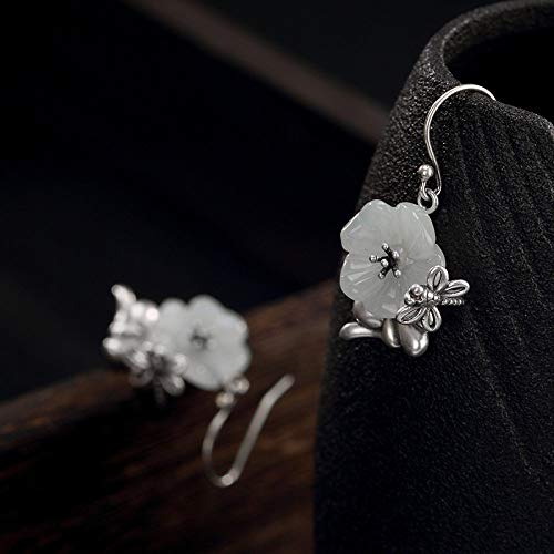 Women'S For Drop Earrings,Retro Fashion S925 Silver Dragonfly Natural Hetian Jade Plum Blossom Dangle Stud Earrings For Women And Girls Handmade Unique Creative Luxury Women'S Jewelry Gift