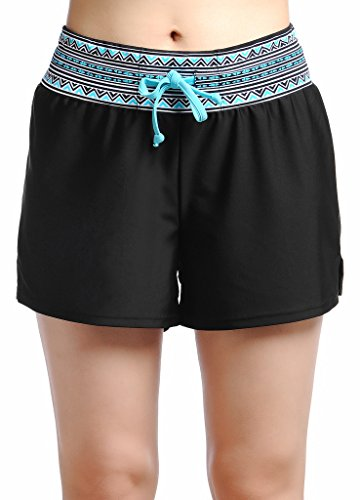 OUO Damen UV Schutz Badeshorts Schwimmen Bikinihose Wassersport Schwimmshorts Boardshorts Schwarz mit Blau Größe XL