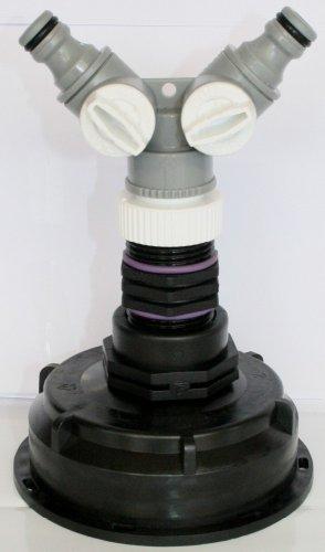 AMS10029082_Y Auslaufstutzen S100 x 8 mit Übergangs-/ und Doppelnippel + Y - Verteiler passend für Gardena, IBC-Container-Zubehör-Regenwasser-Tank-Adapter-Fitting-Kanister