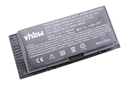 vhbw Batterie Compatible avec Dell Precision M4600, M4700, M4800, M6600, M6700, M6800 Laptop (6600mAh, 11.1V, Li-ION, Noir)