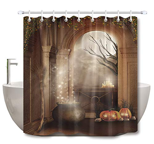 Pumpkin, Candles, Broom Trees and Witch's Brew Shower Curtain