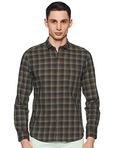 John Players Men's Checkered Slim Fit Casual Shirt (JCMWSHA18007000_Avocado_44)