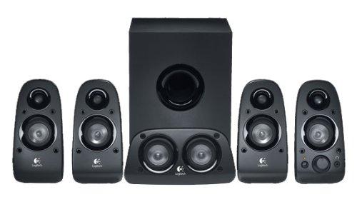 Logitech Z506 5.1 Sound System, Lautsprecher mit 150 Watt Surround Sound, 3,5 mm Klinke und Cinch Eingang, Einfache Bedienelemente, UK Stecker, PC/TV/Tablet/Handy/Spielkonsolen - schwarz