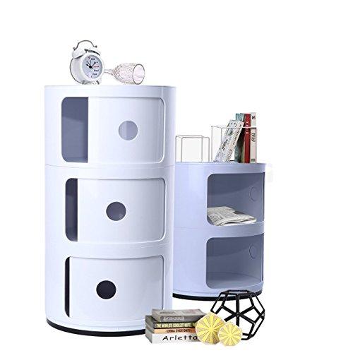 XuanYue Componibili 3 Container Kunststoff Rollcontainer Nachttisch (Weiß)