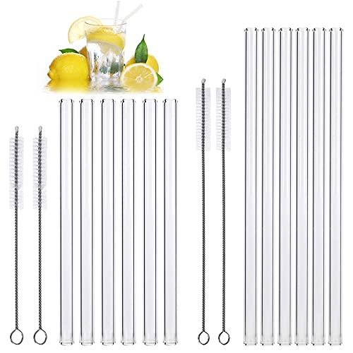 16 Cannucce Vetro,Cannucce riutilizzabili,6 straw di vetro diritte da con 6 cannucce di vetro curve da,Può essere utilizzato in bar, caffè, ristoranti,ecc