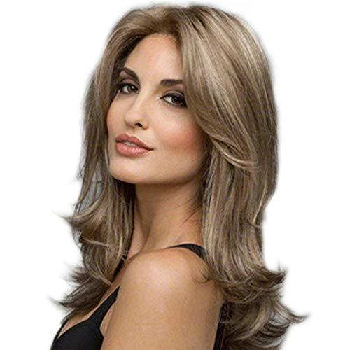 DHUASA Sintético realista cubierta peluca medio de las mujeres de pelo largo...