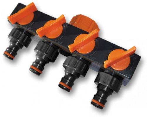 Bradas ECO-PWB3033 Distributeur 4 Voies pour raccordement d'eau, Noir 10 x 5 x 5 cm