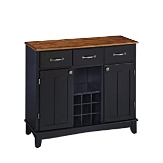 Home Styles Large Black Buffet of Buffets and Hutch with Stainless Steel Top with Three Utility Drawers, Two Framed Cabinet Doors, Optional Wine Storage, Plexiglas Doors, Plenty of Adjustable Storage (B0014GIIJO) | Amazon price tracker / tracking, Amazon price history charts, Amazon price watches, Amazon price drop alerts