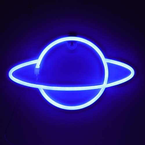 ZWOOS Luz de neón para Dormitorio - Señales Luminosas LED alimentada por batería o USB - Iluminación Nocturna para Navidad, Fiesta, Bar - Azul Moderno