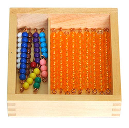 YHZAN Montessori Beads Bars for Teen Board with Box Math Material for Kids Early Development Educational Toy (Colored Bead Stair)