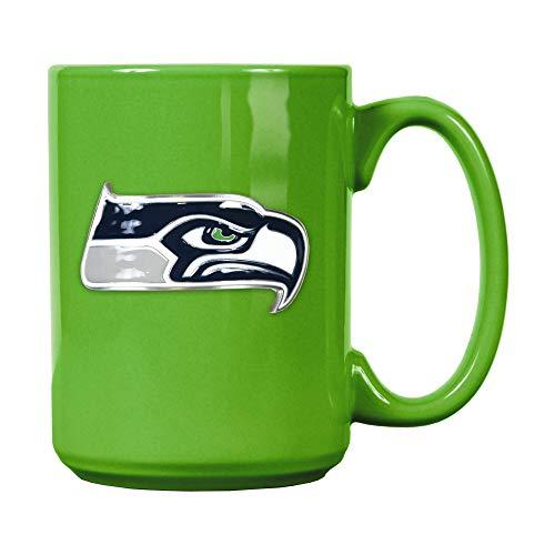 Seattle Seahawks Offizielle NFL Tasse, Becher mit Metall-Logo 400 ml