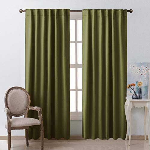 NICETOWN Living Room Blackout Draperies Curtains - (Olive Green Color) W52 x L84, 2 Pieces, Room Darkening Window Blackout Drape Panels on Christmas & Thanksgiving