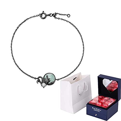 Pulsera de plata del mago de Oz, pulsera simple de plata 925 con bosque iluminado por la luna, para mujer, joyería, pulsera minimalista, día de la madre, regalo de San Valentín, negro