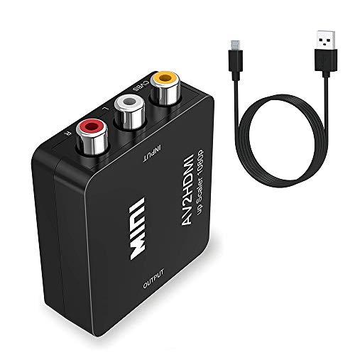 LUOLENG Convertidor de Audio RCA a HDMI, 1080P Mini RCA CVBS Compuesto AV a HDMI Adaptador convertidor de Audio y Video con Cable USB para PC Cámara portátil DVD