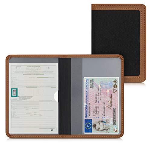 kwmobile Funda para permiso de circulación - Cubierta de tela para documentos del vehículo - Estuche con tarjetero en negro/marrón