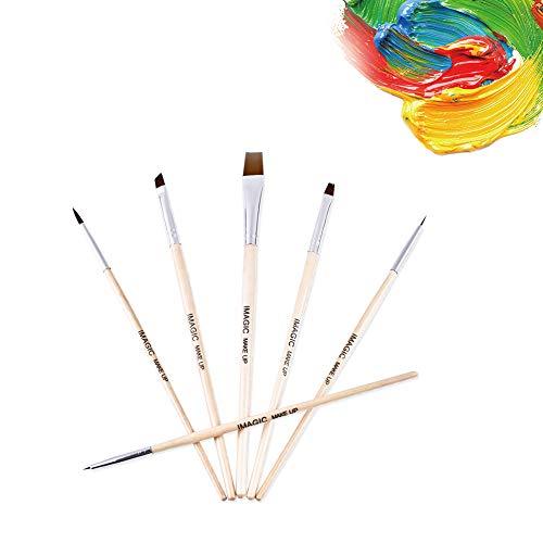 Set de pinceles de maquillaje para el cuerpo de 6 piezas, pinceles de nylon de múltiples funciones para la pintura de maquillaje para el rostro, el labio y el rostro, lo mejor principiantes