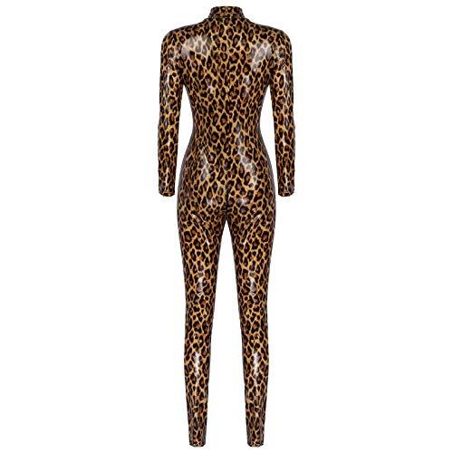 dPois Damen Leoparden Jumpsuit Einteiler Overall Langarm Body Sexy Ganzkörper Anzug Zipper Glänzend Nachtwäsche Lingerie Party Clubwear Braun XL